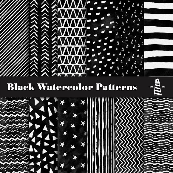 Black Watercolor Patterns