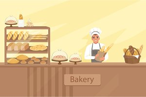 Bakery shop illustration with baker character next to a showcase with pastries. Young man standing behind the counter. Vector store background with design elements set.