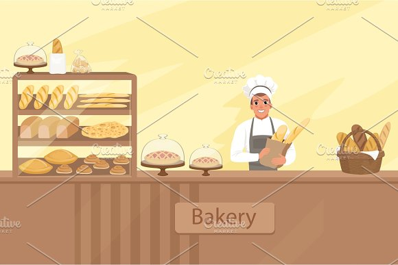 Bakery Shop Illustration With Baker Character Next To A Showcase With Pastries Young Man Standing Behind The Counter Vector Store Background With Design Elements Set