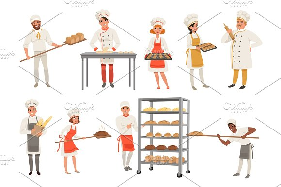 Bakers Characters Set With Bread And Cooking Tools Happy People In Aprons And Hats Young Men And Women In Uniform Working In Bakery Vector Isolated On White
