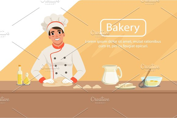 Illustration With Man Baker Character Kneading Dough On The Table With Products Male In Uniform Chef S Hat And Apron At Work Bakery Shop Background Flat Vector