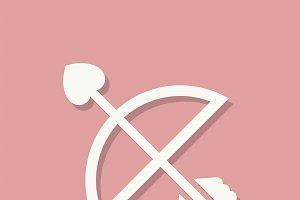 Cupids arrow Valentines day icon