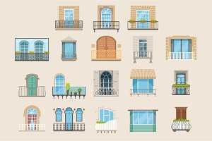 Set of colorful beautiful balconies. Vintage, modern and decorative forged balconies. Flat vector illustrations, architecture exterior building design element.