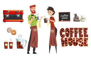 Smiling bearded man with cezve and woman barista with cup. Coffee shop workers wearing plaid shirts and aprons. Coffee maker, milk, donuts, cafe sign. Flat vector