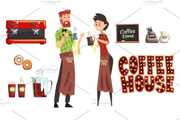 Smiling Bearded Man With Cezve And Woman Barista With Cup Coffee Shop Workers Wearing Plaid Shirts And Aprons Coffee Maker Milk Donuts Cafe Sign Flat Vector