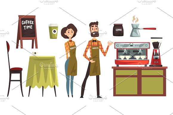 Happy Man And Woman Barista Wearing Plaid Shirts Set With Design Elements Of Coffee Shop Equipment Table Chair Cups And Mugs Coffee Machine Cezve Flat Vector