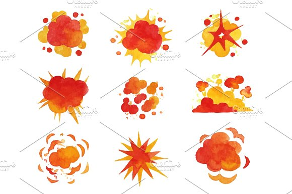 Explosions Set Fire Explosion Effect Watercolor Vector Illustrations