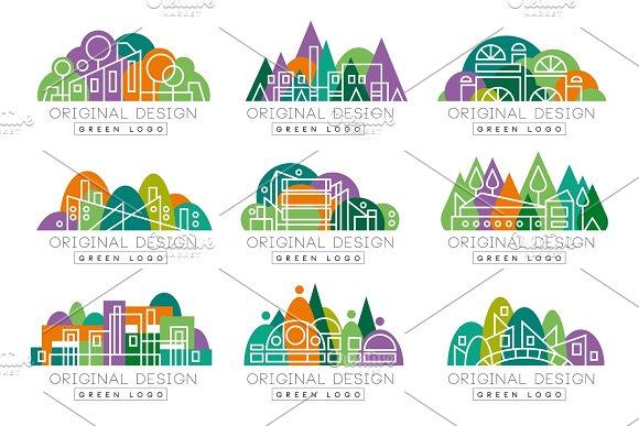 Green Logo Original Design Set Abstract Organic Design Elements Vector Illustrations