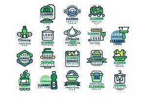 Cleaning service premium quality logo design set, home and office cleaning, car wash and outdoor cleaning vector Illustrations