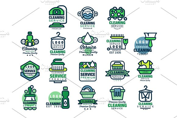 Cleaning Service Premium Quality Logo Design Set Home And Office Cleaning Car Wash And Outdoor Cleaning Vector Illustrations