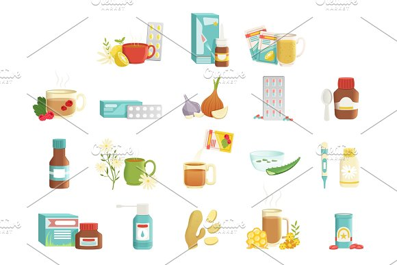 Flu Icons Set Alternative And Traditional Treatments Tea With Raspberries Pills Onions Syrup Nose Drops Drink With Herbs And Honey Throat Spray Flat Vector