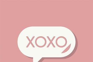 XOXO message Valentines day icon