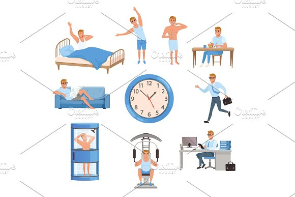 Man In Different Situations Day Time Waking Up Doing Exercises Brushing Teeth Eating Resting On Sofa Running On Work Taking Shower Training At Gym Working Flat Vector