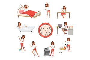 Cute young girl in different situations. Day time. Waking up, doing physical exercises, eating breakfast, taking bath, working, cleaning house, cooking and shopping. Flat vector