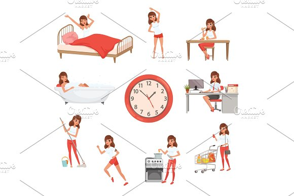 Cute Young Girl In Different Situations Day Time Waking Up Doing Physical Exercises Eating Breakfast Taking Bath Working Cleaning House Cooking And Shopping Flat Vector