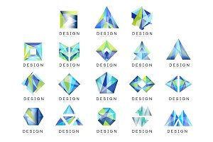 Abstract logo design set, crystal gem geometric badge vector Illustrations