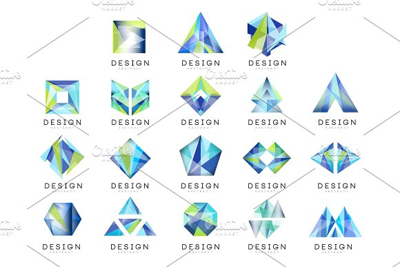 Abstract Logo Design Set Crystal Gem Geometric Badge Vector Illustrations