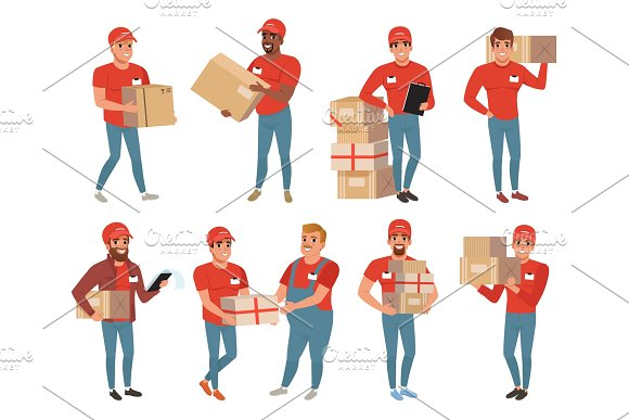 Set Of Postal Workers In Different Poses Courier Or Delivery Service Men Characters With Parcels Packages Boxes Cheerful People In Red Uniform Flat Vector Design