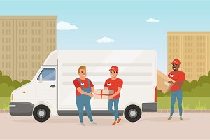 Man with mustache giving parcel to young courier. Delivery service car. Workers in red uniform. Green park and city landscape on background. Flat vector design