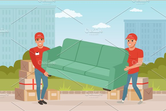 Strong Guys Carrying Sofa Cartoon Couriers Characters Express Delivery Relocation And Moving Service Transportation Company Colorful City Landscape Flat Vector Design