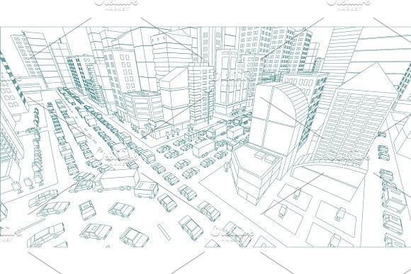 City Street Intersection Traffic Jams Road 3D Drawing Blue Lines Outline Contour Style Very High Detail Projection View A Lot Cars End Buildings Top View Vector Illustration