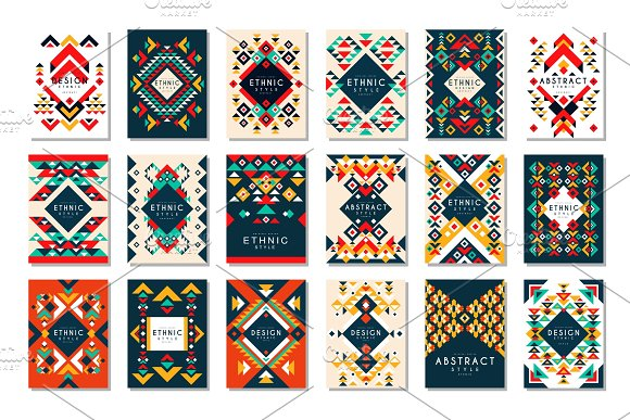 Colorful Vector Set Of 9 Card Templates With Geometric Shapes Abstract Ethnic Pattern Elements For Brochure Flyer Or Poster In Trendy Flat Style