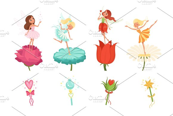 Set Of Little Fairies Hovering Over Beautiful Flowers Cartoon Girls Dressed In Colorful Dresses Cute Magical Creatures With Wings Magic Wands Flat Vector Design