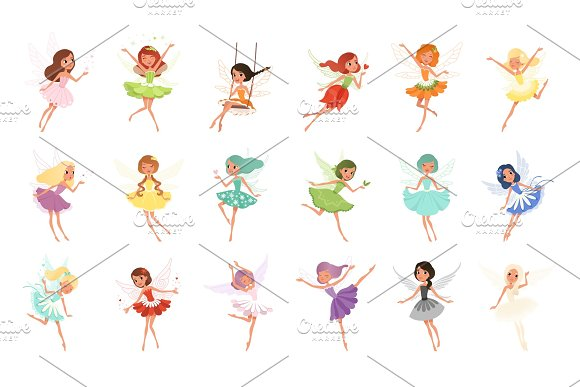 Colorful Set Of Fairies In Flying Action Little Creatures With Colorful Hair And Wings Mythical Fairy Tale Characters In Cute Dresses Flat Vector Design