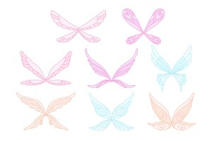 Vector collection of pink, blue and purple fairy s magic wings. Decorative elements for children s book, postcard, print design. Colorful flat vector icons