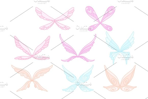 Vector Collection Of Pink Blue And Purple Fairy S Magic Wings Decorative Elements For Children S Book Postcard Print Design Colorful Flat Vector Icons