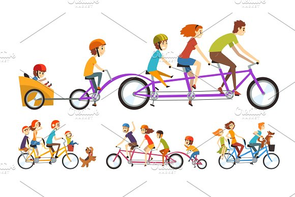 Two Happy Families Riding On Tandem Bicycles With Three Seats And Basket Parenting Concept Recreation With Kids Cartoon People Characters Flat Vector Design