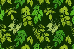 Green printed leaves pattern, vector