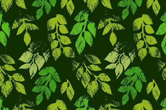 Green Printed Leaves Pattern Vector