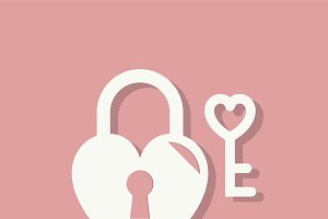 Heart lock Valentines day icon