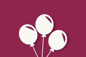 Party balloons Valentines day icon