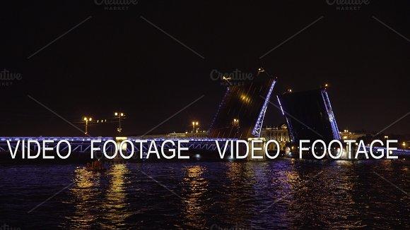 Bridge With Illumination Over The River At Night