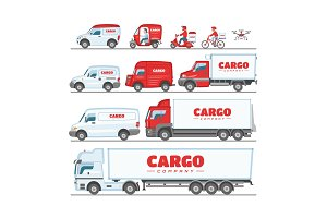 Cargo truck vector van or minivan car for delivery or transportation freight illustration set of mock up vehicle delivering or transporting load isolated on white background