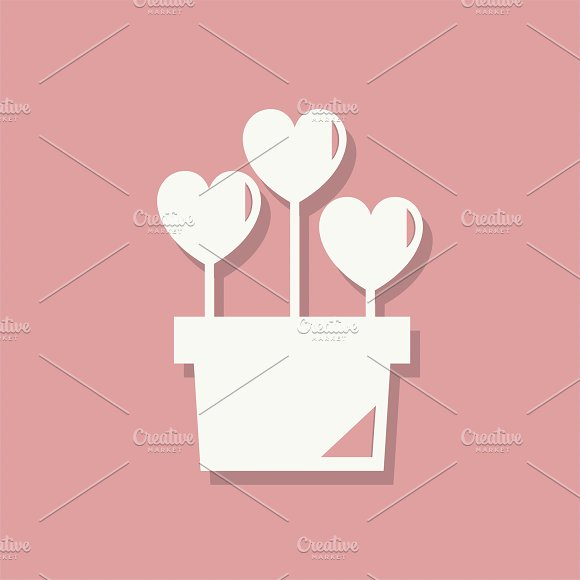 Flower Pot Valentines Day Icon