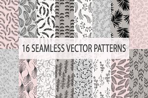 16 Seamless Leafy Vector Patterns
