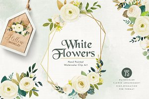 White Flower Watercolor Set