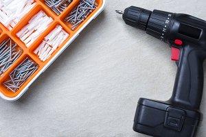 screwdriver and screws box