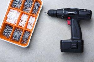 screws box and screwdriver