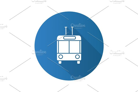 Trolleybus In Front View Flat Design Long Shadow Glyph Icon