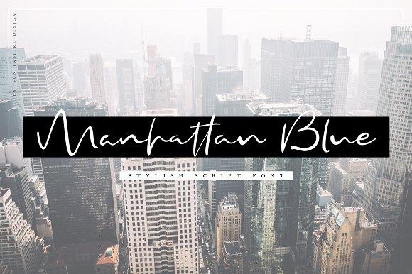 Manhattan Blue Script Font