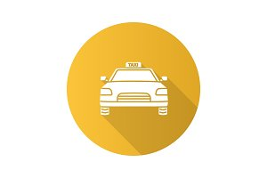 Taxi flat design long shadow glyph icon