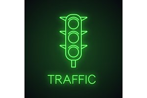 Traffic lights neon light icon