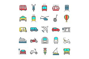 Public transport color icons set