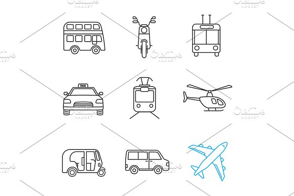 Public Transport Linear Icons Set