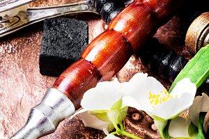 Oriental tobacco hookah with floral