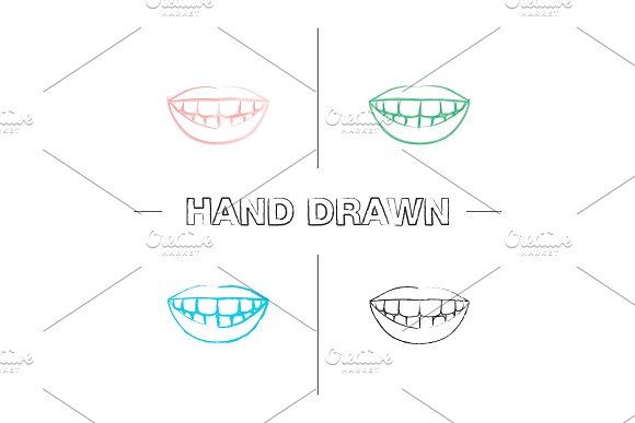 Beautiful Smile With Healthy Teeth Hand Drawn Icons Set